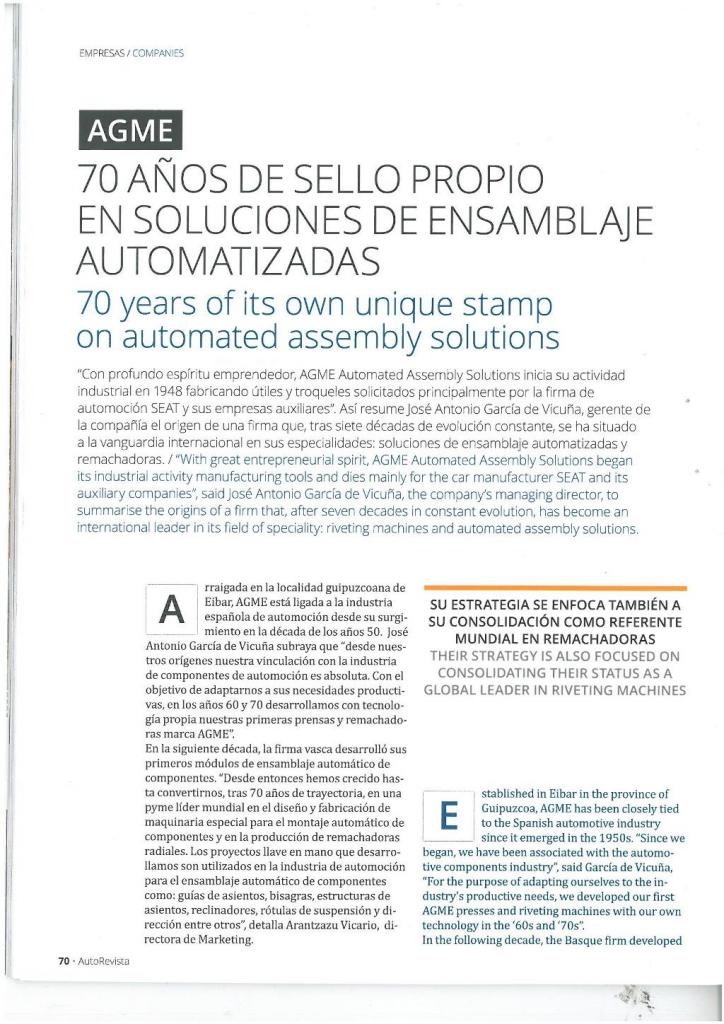 agme 70 years know how autorevista