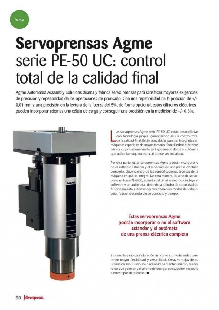 Metalmecánica Servoprensas AGME serie PE-50 UC control total de la calidad final