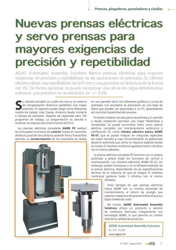 Revista Tope: Prensas Eléctricas AGME para mayores exigencias de precisión y repetibilidad